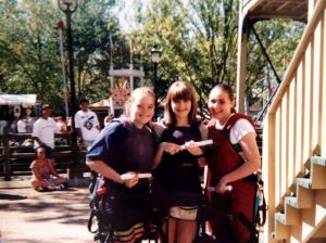 Mandi, me and Jenny getting ready for Opryland's SkyCoaster on Mandi's 18th birthday