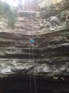 Mandi rappelling.  Doesn't it look scary?!
