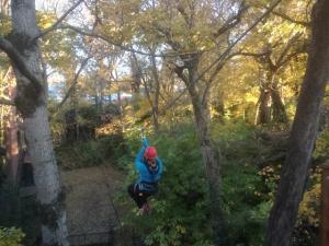 My sister ziplining
