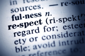 Dictionary definition of the word Respect.
